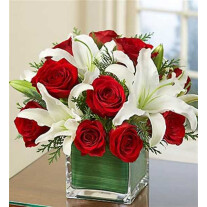 Arrangement of Red Roses and White Liliums